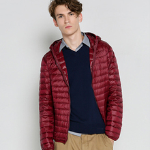 2016 fashion men Autumn winter warm down jacket pure color have hat long sleeve high quality thin slim warm casual down coat