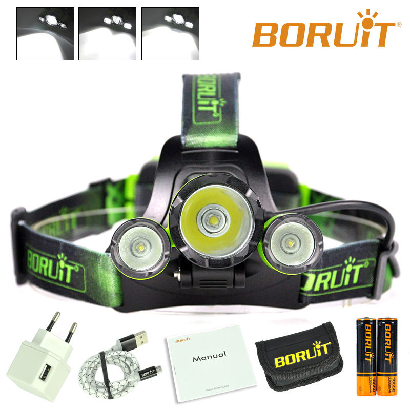 BORUiT B21 LED Headlamp Cree XML2 LED Camping Head Lamp 18650 Rechargeable Head light High Power LED Torch Head Torch Linterna b21 9000lm l2 cree led headlamp waterproof head light camping lamp boruit led lights by 18650 battery with usb cable