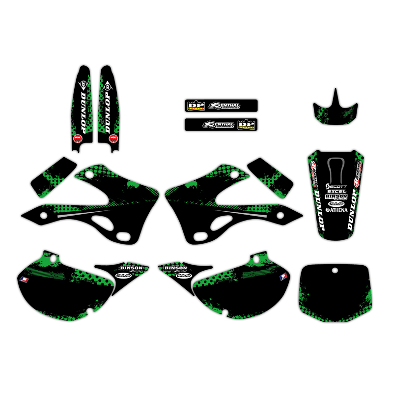 NICECNC 0224 TEAM GRAPHICS BACKGROUNDS DECALS STICKERS Kits For Kawasaki KX125 KX250 1999 2000 2001 2002