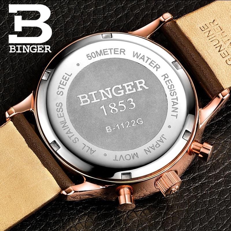 BINGER deporte reloj de cuarzo relojes para hombre marca de lujo cronógrafo de cuarzo de cuero de oro rosa reloj Relogio - 2