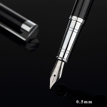 Jinhao Classic Black and Silver Fountain Pen with 0.5mm Iridium Nib The Best Business Gift Pen Metal Ink Pens Free Shipping цена 2017