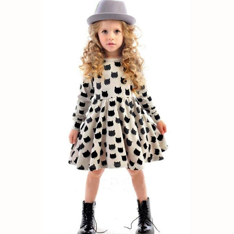 Long Sleeve Girl Dress 2017 New Cat Printed Kids Dresses for Girls Casual Autumn Spring 2 3 4 5 6 7 Years Children's Clothing mystery футболка mystery insecticide