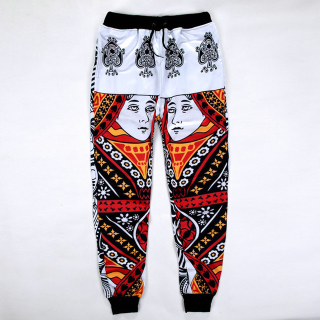 3ae48e7777d328 New Fashion Men Women Sweat Pants Graphic 3D Printed Playing Card Spade  Queen casual pants Casual Sweatpants Trousers