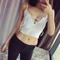 Hot Sexy Crop Top Deep V Neck Lace Up Stretch Knitted Tops Summer Style Women Crop Tops