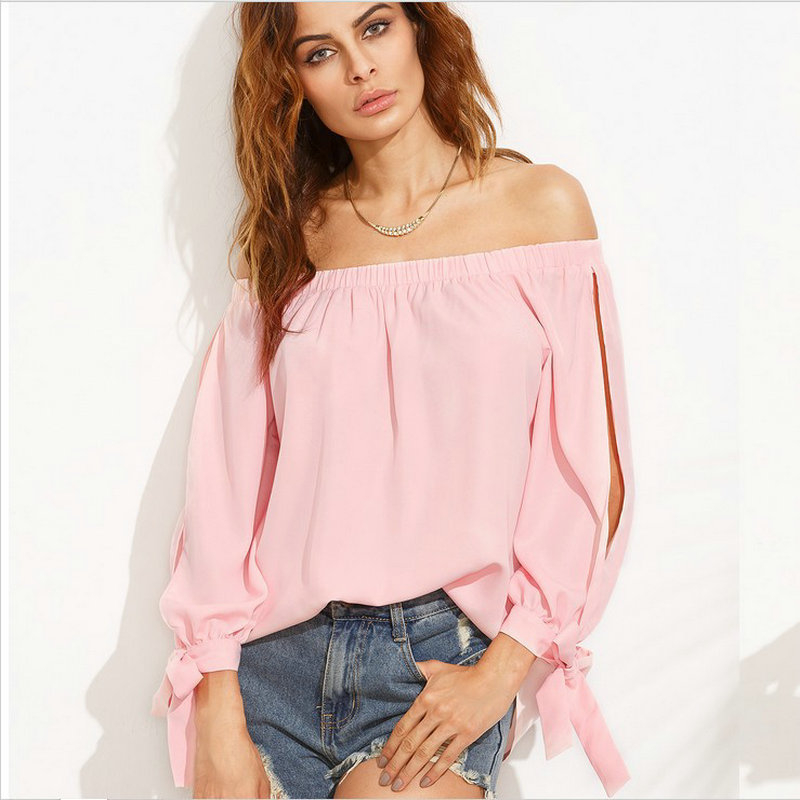 In the summer of 2018 the new female fashion word brought sexy pink strapless long sleeve women