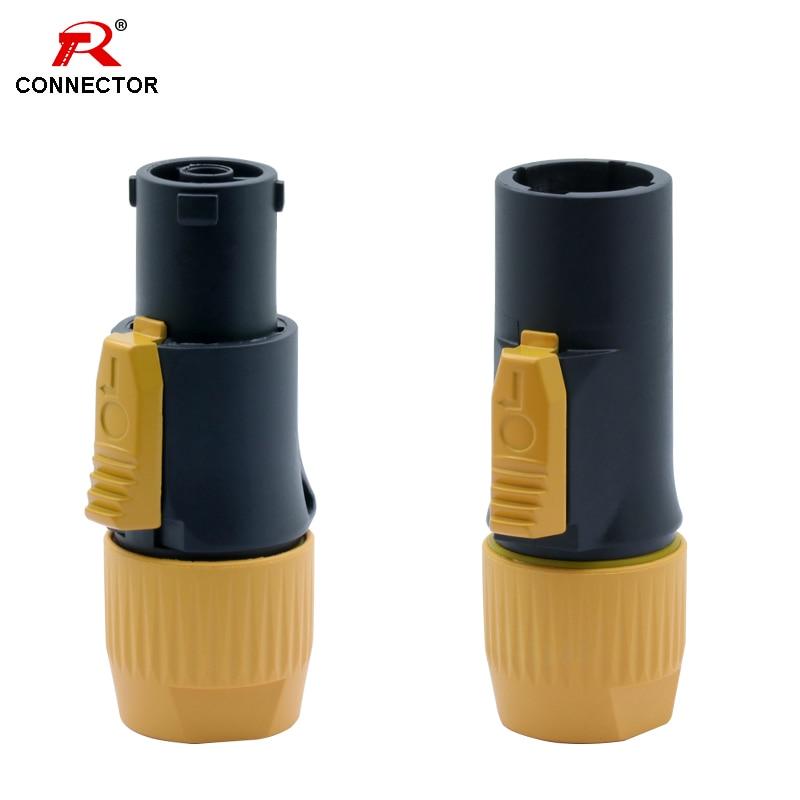 1pc impermeável ip65 powercon conector macho plug & fêmea jack NAC3FX-W NAC3MX-W pa66 material ip65 grau cor laranja impermeável