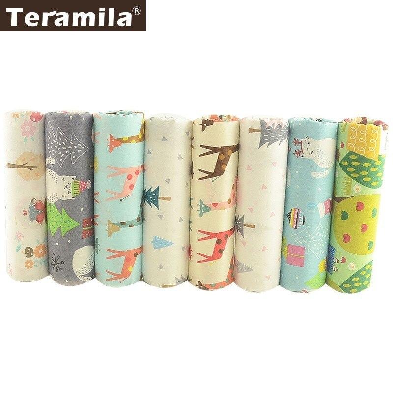 TERAMILA 100% Tecido de Algodão Projeto Animal Bonito Travesseiro Quilting Costura Têxtil DIY Fat Quarters 8 PCS/40 cm x 50cm Tissus Patchwork