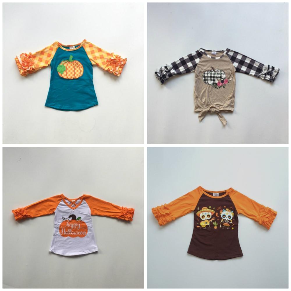 Fall Happy Halloween Baby Girls Boutique Top T-shirts Clothes Plaid Pumpkin Icing Sleeve Cotton Children Raglans Ruffles Tie Top