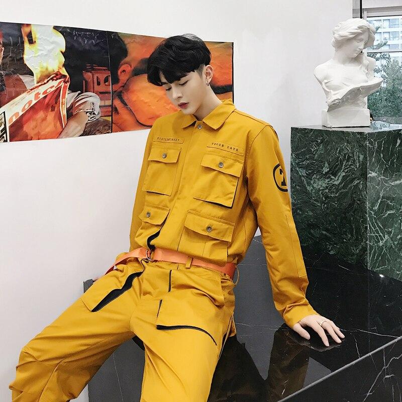 Noir Ceinture Mode Automne Combinaisons Design Poche rose jaune Avec Salopette Chemise Boutonnage Simple Tops Haute Cargo Pièce Rue Combinaison Barboteuse Nouveau Une HvvqdTr