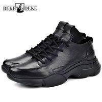 Новый повседневные кроссовки для мужчин Элитный бренд пояса из натуральной кожи увеличивающие рост осень зима круглый носок Мужская обувь