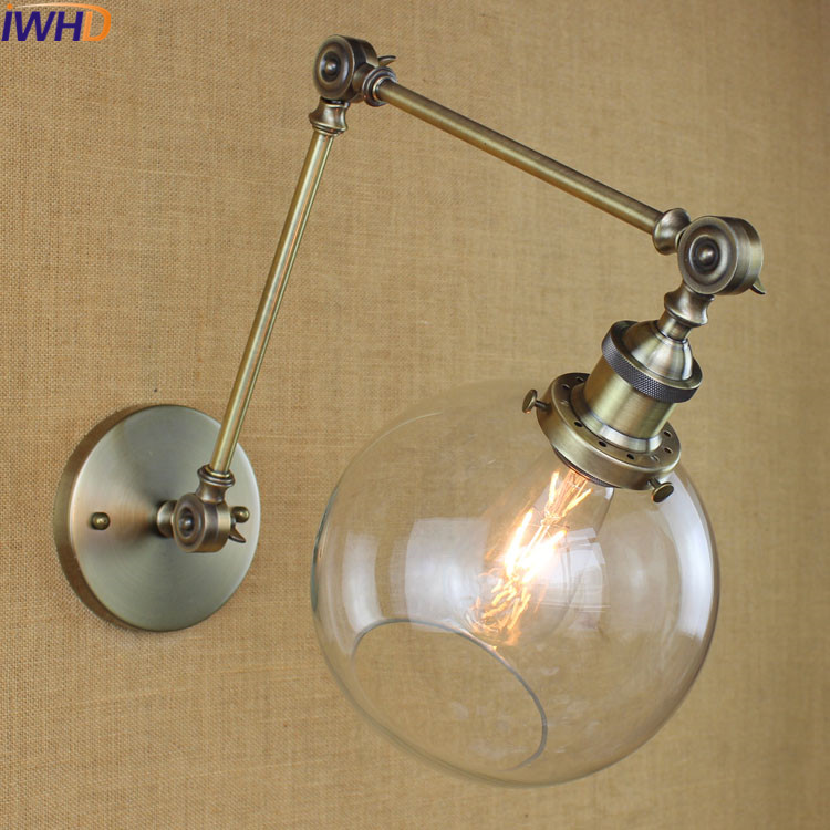 IWHD Swing Long Arm arandela Glass Ball Industrial Led Wall Light Up Down Loft Style Vintage Wall Lamp Bedroom Bed Iron Sconce 67050 hanging on the support arm swing arm control arms factory swing