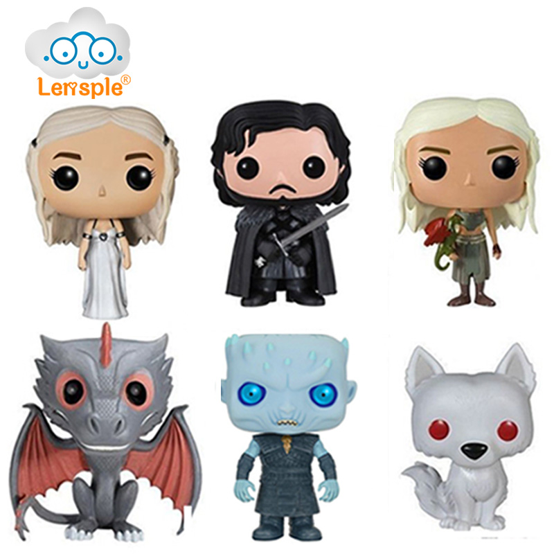 Lensple 10cm Game Of Thrones Night King Daenerys Dragon Jon Snow Wolf Vinyl Action Figure Doll Gifts For Friends limited edition game of thrones jon snow