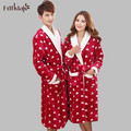 New 2016 fashion winter women and men's bathrobes flannel long dresses gowns winter bathrobe for couples pajamas robes 2XL Q767