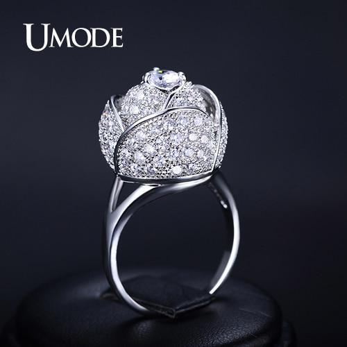 font b UMODE b font Rose Flower font b Ring b font Rhodium plated CZ