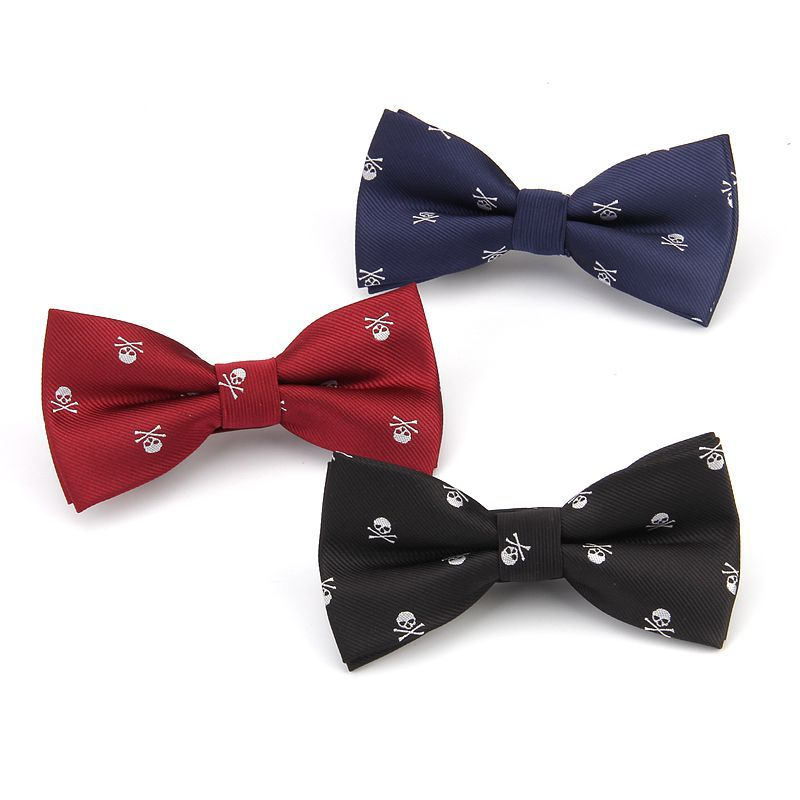Free Shipping Brand New Men's Skull Bowtie Adjustable Bow Tie For Men Novelty Cravat Fashion Leisure Black Wine Red Gravata