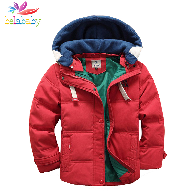 Belababy Baby Boy Winter Jacket Kids Thick Warm Outerwear Children Hooded Coat Jackets For Boys Clothes 4-11Y 2 pcs children set baby boys girls clothing sets winter hooded down jackets trousers waterproof thick warm kids outerwear xl242