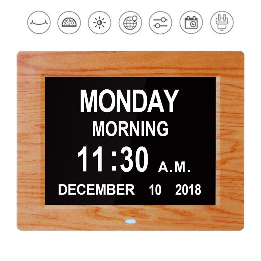 Calendrier numérique jour horloge électronique Date heure affichage grand LED réveil 8
