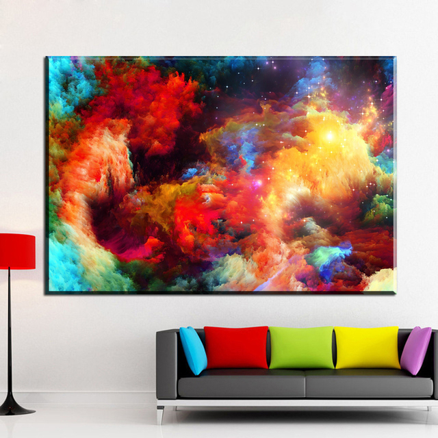 Modern abstract canvas art colorful smoke canvas pictures oil art paintings for living room bedroom decoration unframed