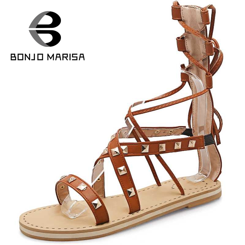 ФОТО BONJOMARISA Gladiator Women Sandals Fashion Flat With Open Toe Platform Summer Shoes 2017 Woman Big Size 29-52