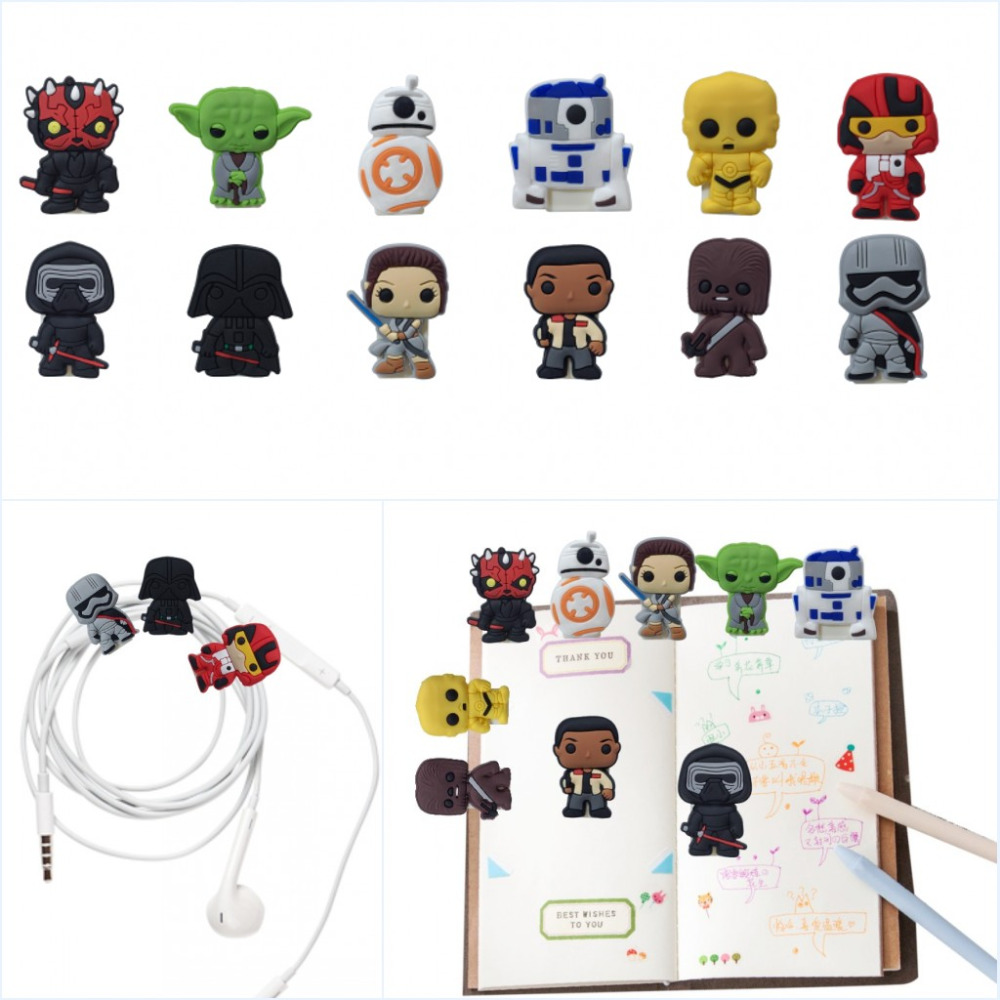 5pcs Cartoon PVC Paper Clips Star Wars Bookmarks School Office Supply Diary Accessory DIY Craft USB Binding Clips Kids Gift