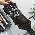 Зимние носки для Женщин Harajuku Ручной кисточки стразы Носки Смешные носки