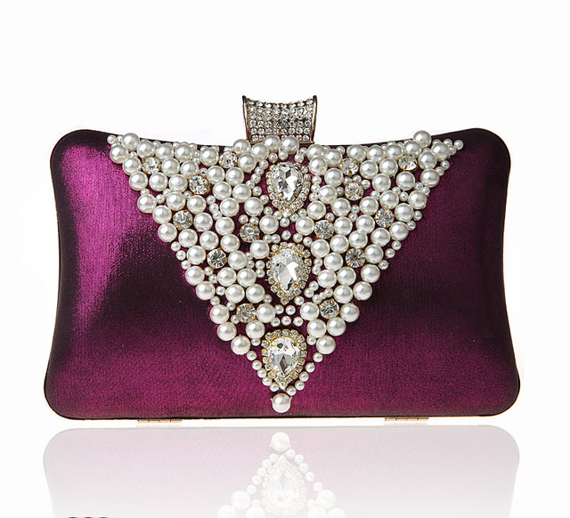 2016 High Quality Purple Ladies Beaded Zircon Wedding Evening Bag Clutch handbag Bride Party Purse Mini Makeup Bag Bolso 7239#
