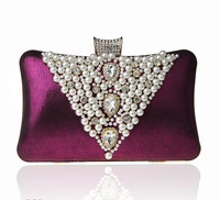 2016 High Quality Purple Ladies Beaded Zircon Wedding Evening Bag Clutch Handbag Bride Party Purse Mini