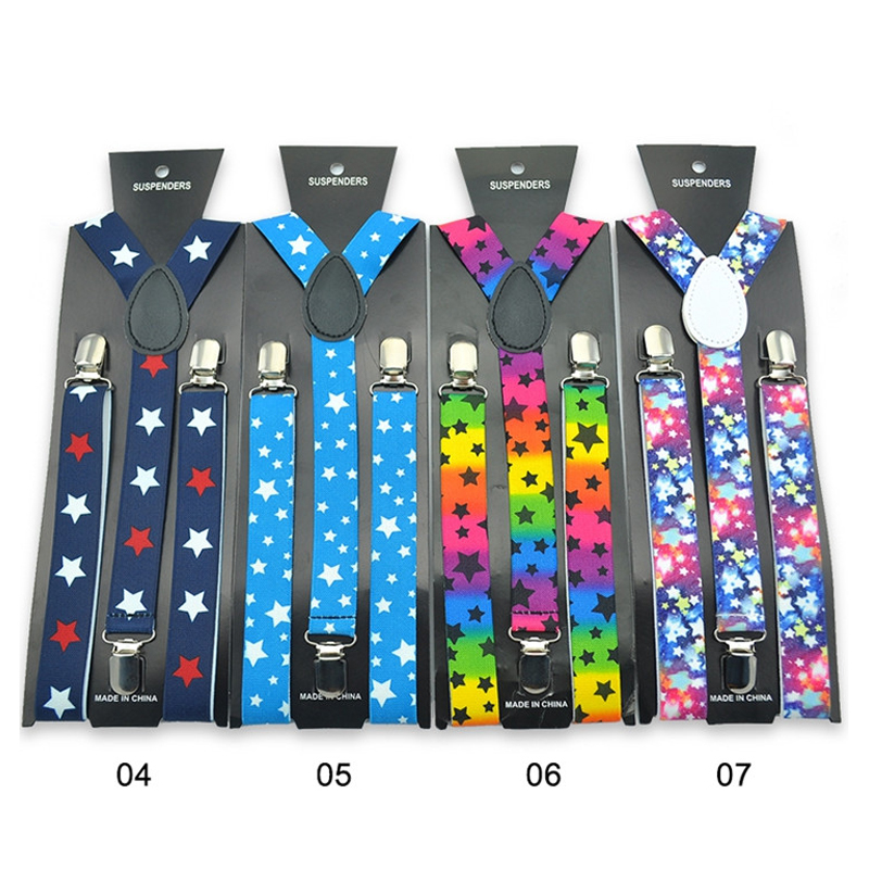 Black Unisex Clip-on Braces Elastic Y-back Suspenders belt Black for Adult US