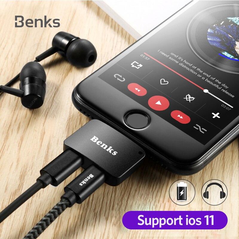 Benks Para iPhone 7 Plus 8 2 en 1 de Audio de Carga iOS 11 3.5mm Para Auriculares Jack AUX Cargador Conector adaptador Convertidor Para iPhone7
