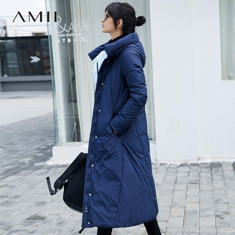 Amii Women 2018 Winter Thick 90% White Duck Long  Down Coat Hoodies