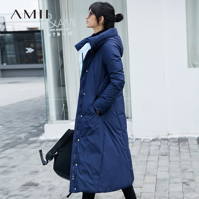 Amii Women 2018 Winter Thick 90% White Duck Long   Down     Coat   Hoodies