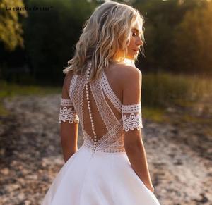 Image 3 - Vestido de noiva2020 nouveau O cou dentelle satin une ligne ivoire plage boho robe de mariée queue suknia slubna gelinlik casamento