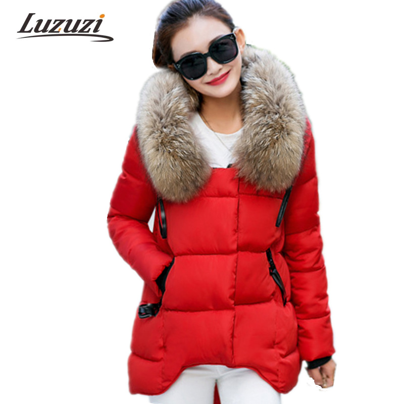 Women winter coats and Jackets 2017 New Irregular Hem with Big Fake Fur Collar Female Parkas Wadded Girls Warm Long Coats WS899
