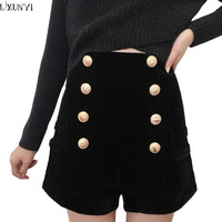 LXUNYI Winter Shorts Women Black Double Breasted Slim Thin Heavy Gold Button Velvet High Waist Shorts Sexy Casual Short mujer