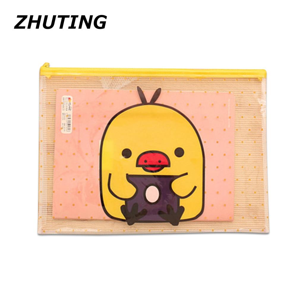 Transparent Cartoon Mesh Pocket Zipper Envelope Paper Bag Pen Filing Office Supplies