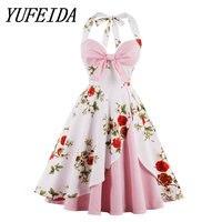 YUFEIDA 2018 Summer Women Flowers Printing Retro Dresses Sleeveless Refreshing Retro Beauty Ball Gown Dresses Women Swing Dress