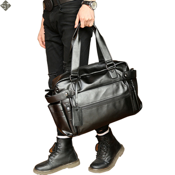 Young Fashion mens leather travel bag vintage duffle handbags large men business luggage bag with shoulder strap sac voyages