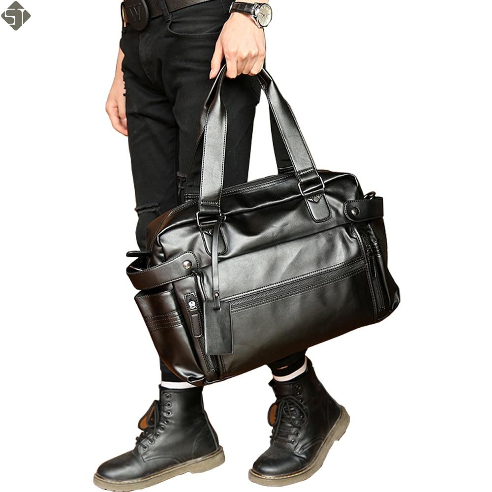 Молодежная мода мужская кожаная дорожная сумка винтажные duffle Сумки Большой мужская деловая дорожная сумка с плечевым ремнем sac voyages