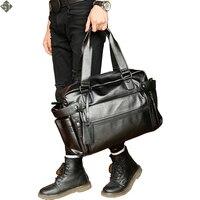 Young Fashion Mens Leather Travel Bag Vintage Duffle Handbags Large Men Business Luggage Bag With Shoulder