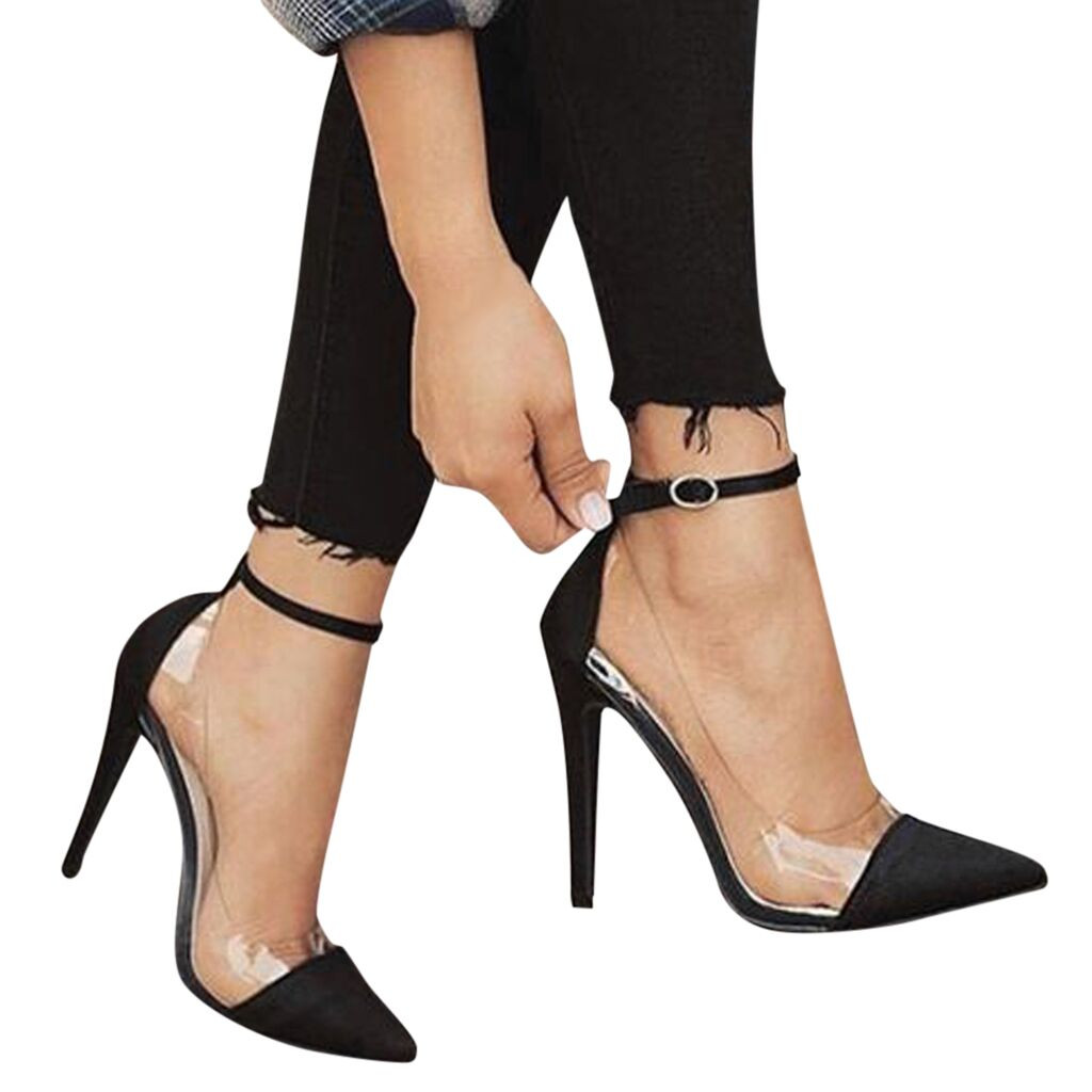 Women's high heel sandals foreign trade large size women's shoes hot glass plastic ankle buckle with pointed shoes high heels C3