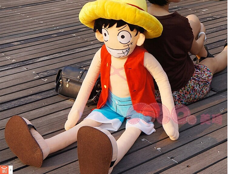 Movie & TV One Piece plush about 150 CM Monkey D Luffy plush toy doll gift w3937 lovely middle plush monkey toy cute yellow coat monkey toy doll gift about 65cm 0127