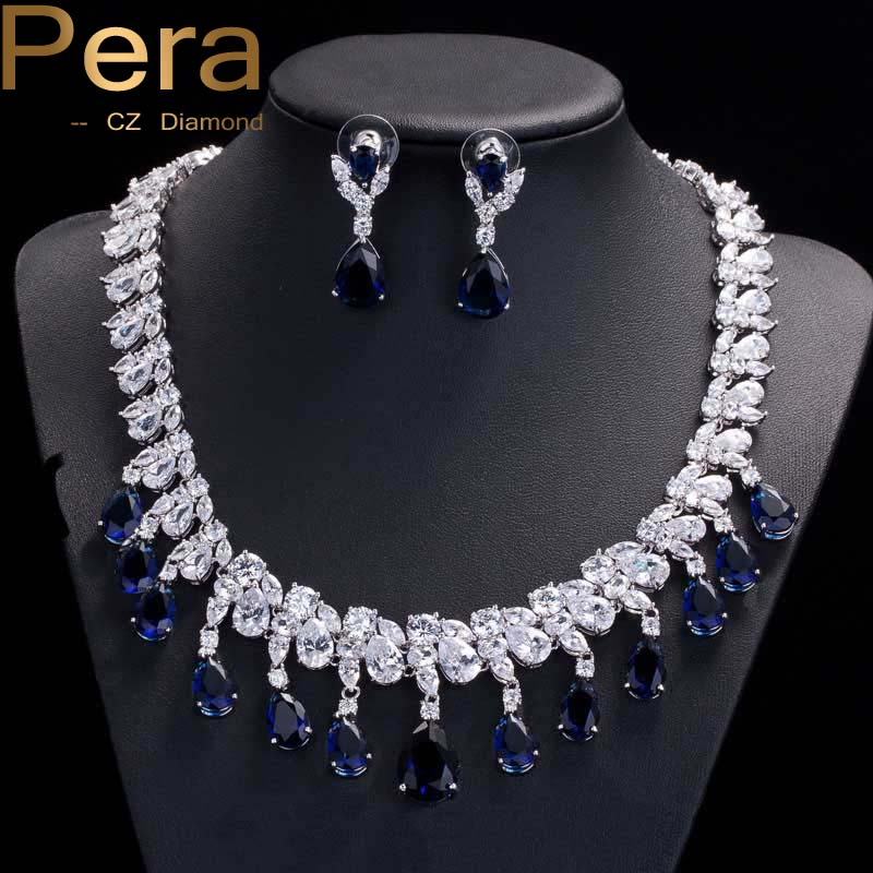 Pera CZ Luxury African Design Bridal Blue Jewelry Large Chandelier Wedding Dangling Necklaces And Earrings Set For Brides J031 pera luxury bridal wedding imitation pearl jewelry green cz stone pave setting big long hanging earrings for brides e045