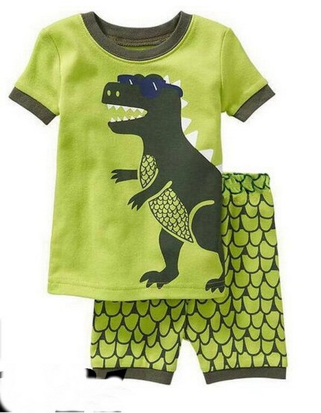 868733633 Green Dino Children Clothes Sets Dinosaur Boys Pajamas Suit Summer ...