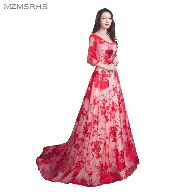 Vestidos de fiesta largos de encaje rojo de lujo MZMSRHS 2018 Vestido - Vestidos para ocasiones especiales - foto 4