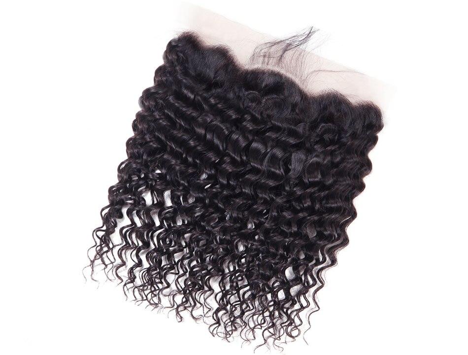 Ashimary Deep Wave Brazilian Hair Bundles with Frontal Remy Hair 2/3/4 Bundles with Frontal Human Hair Bundles with Lace Frontal