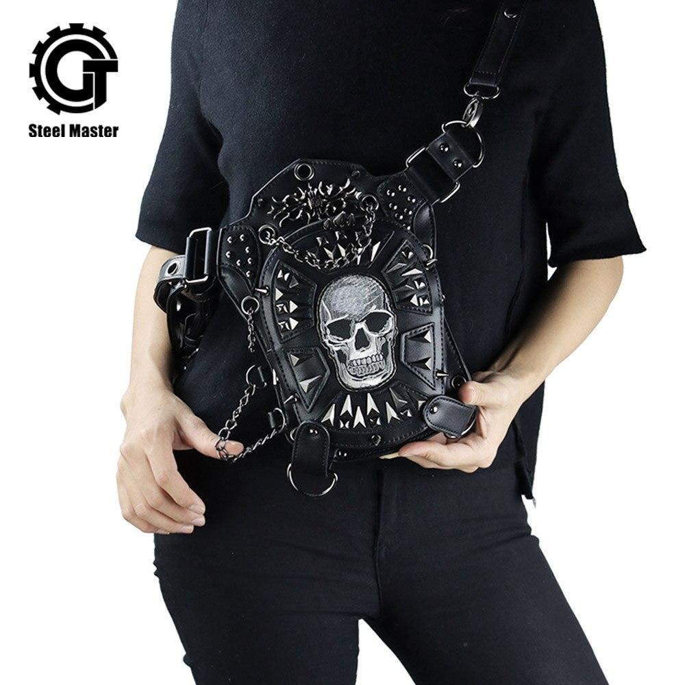 Rétro Punk crâne taille sac goutte jambe ceinture Fanny Pack sacs Rock moto cavalier Fanny Pack gothique hanche sac en cuir synthétique polyuréthane