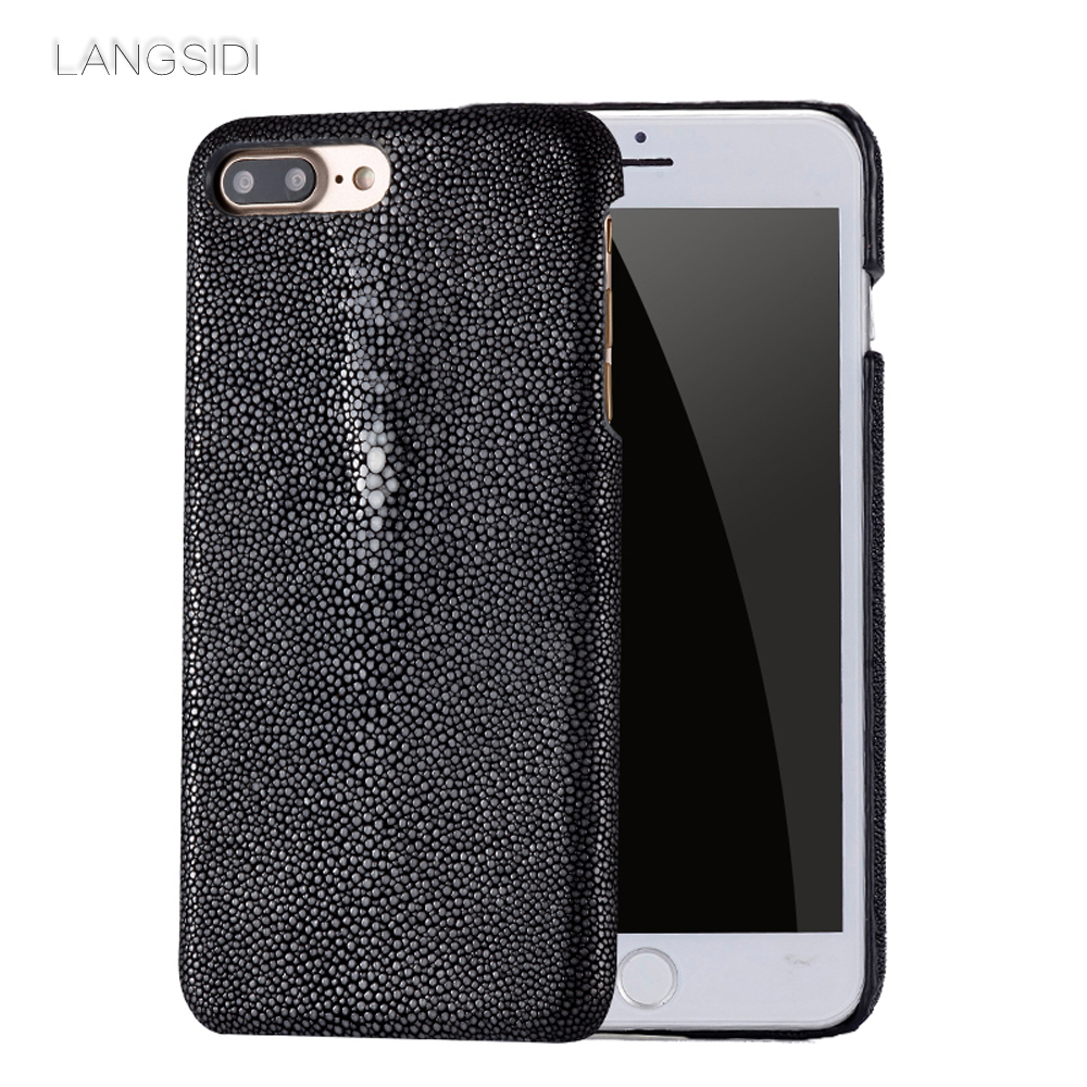 wangcangli custom made for iphone case Pearl fish cover leather phone case for iphone 6s case Handmade custom phone case in Half wrapped Cases from Cellphones Telecommunications