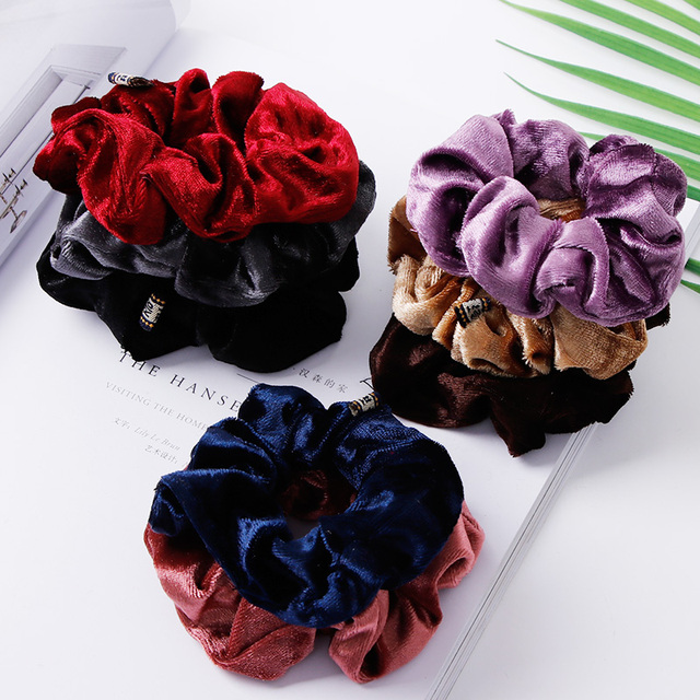 1PC Women Elegant Velvet Solid Elastic Hair Bands Ponytail Holder Scrunchies Tie Hair Rubber Band Headband Lady Hair Accessories 3