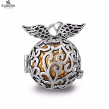 Retail angel caller wing pendant fit 18mm silver plated eudora harmony ball sonido del carillón boleadoras mexicanas embarazadas collar joyería