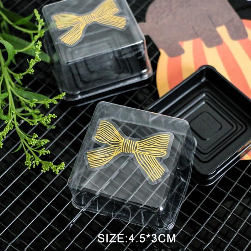 Купить с кэшбэком 60pcs/lot Cute Golden Big Bow Gold 4.5*3CM Handmade Adhesive Cake Sweet Candy Packaging Sealing Label Sticker Gift Stationery
